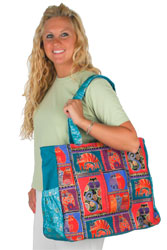 Laurel Burch Feline Collage Oversized Tote